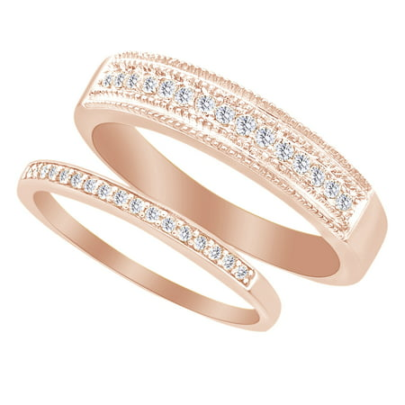 Round Cut White Natural Diamond His and Hers Wedding Band Set in 14K Rose Gold (0.33 Cttw) By Jewel Zone US