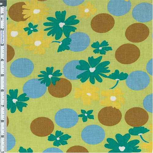 Lime Retro Floral Linen Print, Fabric By the Yard