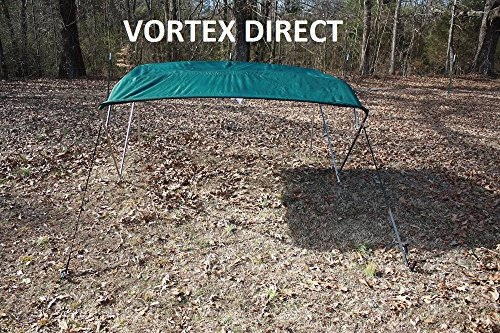 "DARK GREEN (ACRYLIC) VORTEX STAINLESS STEEL FRAME 4 BOW PONTOON DECK BOAT BIMINI TOP 8' LONG, 91-96"" WIDE (FAST... by VORTEX DIRECT"