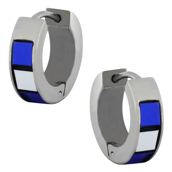 Stainless Steel Blue & Silver Tiles Huggie Hoop Earrings 13mm Length, 5mm Width