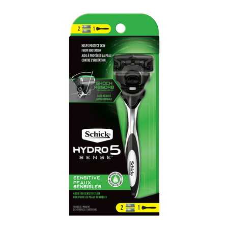 Schick Hydro Sense, Sensitive Razor for Men, 1 Razor Handle and 2 Razor Blades Refills