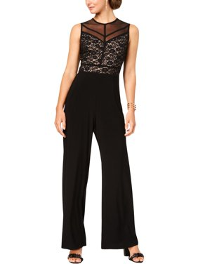 Nightway Womens Lace Overlay Sequined Jumpsuit