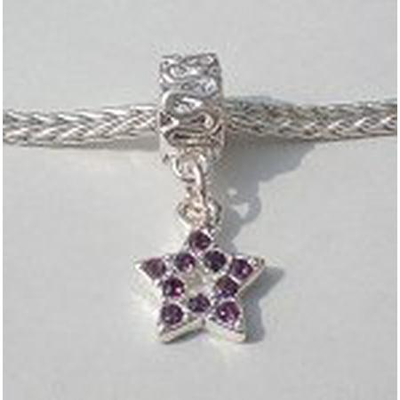 Buckets of Beads Rhinestone Star Dangle Charm Bead, Purple (Purple Rhinestone Charm)