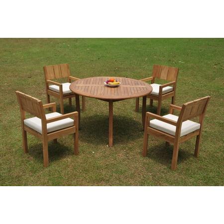 52 Round Table.Grade A Teak Dining Set 4 Seater 5 Pc 52 Round Table And 4 Veranda Arm Chairs Outdoor Patio Wholesaleteak Wmvrd
