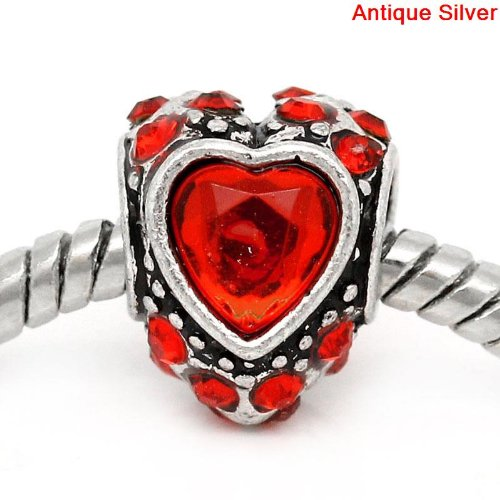 Antique Silver Finish Red Rhinestone Heart Charm Bead. Compatible With Pandora Style Bracelets, Troll, Zable, Baigi, Chamilia