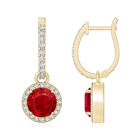 Mother S Day Jewelry Round Ruby Dangle Earrings With Diamond Halo In 14k Yellow Gold