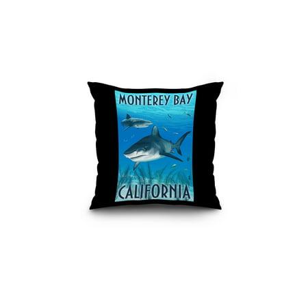 Monterey Bay  California   Tiger Sharks   Lantern Press Poster  16X16 Spun Polyester Pillow  Black Border