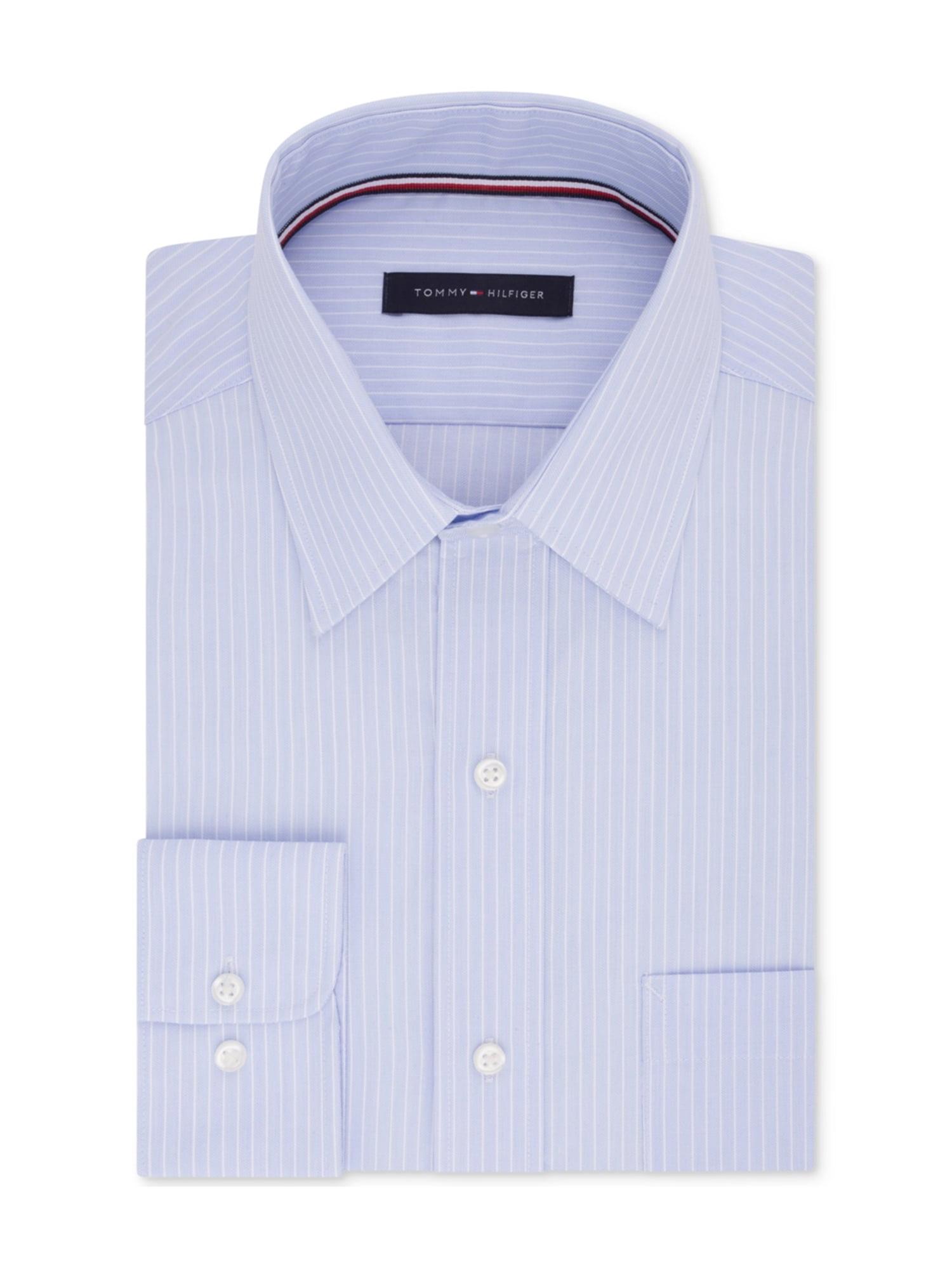 754a1638 Tommy Hilfiger Mens Twill Button Up Dress Shirt softblue 18 1/2 ...