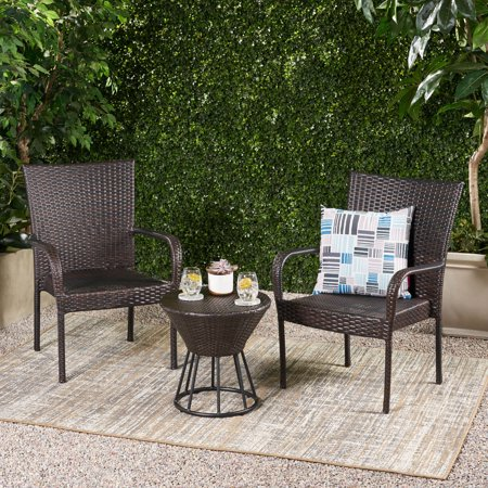 Dean Outdoor 3 Piece Wicker Stacking Chair Chat Set, Multibrown ()