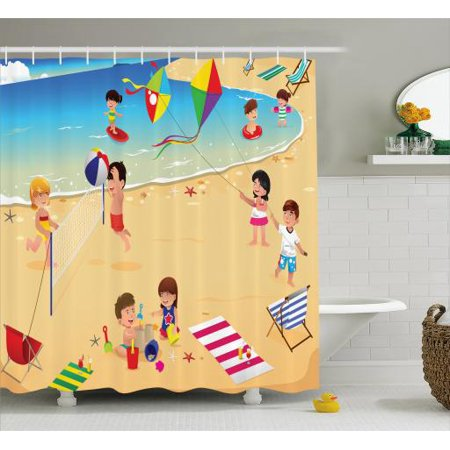 Kids Sports Shower Curtain Beach Volleyball Little Playing By The Sea Summer Baby Holiday