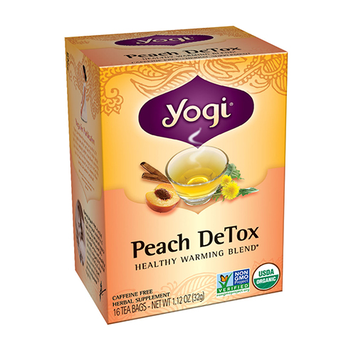 Yogi Peach Detox Herbal Supplement Tea Bags - 16 Ea