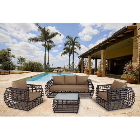 Hanover Soho Outdoor Lounge Set (4-Piece) Brown/Beige SOHO4PC