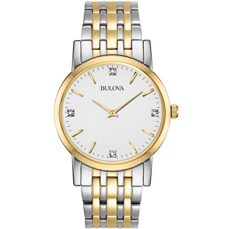 Bulova Men's Diamond Two-Tone Steel Silver-Tone Dial Movement: Quartz