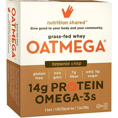 Oatmega Brownie Crisp Barres de protéines, 1,8 oz, 4 comte, sans gluten, SOJA gratuit, Egg-gratuit, Les oméga-3, 5 g de sucre