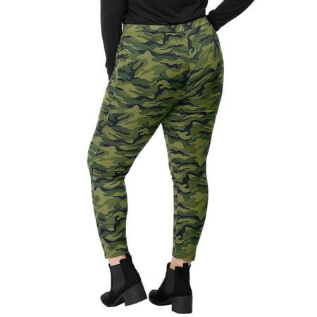 Women Plus Size Elastic Waist Stretch Camouflage Skinny Leggings Green 1X - image 5 of 7