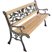 Anself Garden Bench with Rose-patterned Backrest