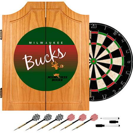Milwaukee Bucks Hardwood Classics NBA Wood Dart Cabinet by
