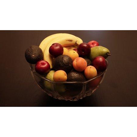 LAMINATED POSTER Wooden Fruit Bowl Fresh Banana Avocado Apricot Poster Print 24 x (Bowl Apricot)
