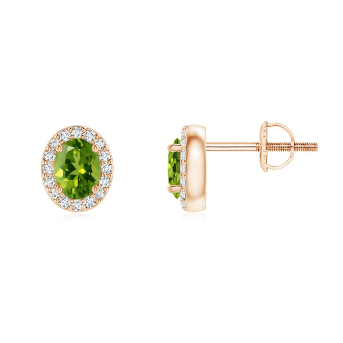 Angara Emerald Earrings in Rose Gold with Screw Back gBtFNyc7