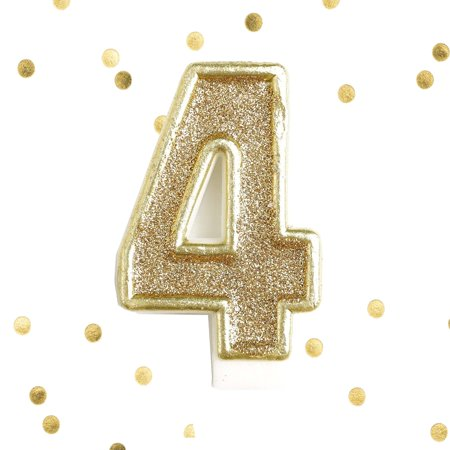 Light Gold Glitter 4th Birthday Candle Number 4 Four Cake Topper 4 Year](Candle Cake)