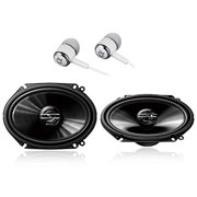 "Pioneer TS-G6820S 500 Watts Max Power 6 x 8/5"" x 7"" 2-Way G-Series Coaxial Full Range Car Audio Stereo Speakers/Free ALPHASONIK Earbuds"