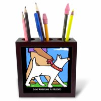 3dRose Dog Walker, Cartoon Dogs, Dogs, Dog, Funny Dogs, Puppies. Pets, Funny Pets, Animals, Tile Pen Holder, 5-inch