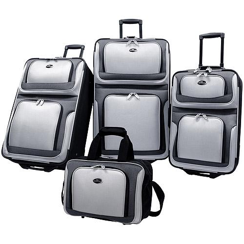 U.S Traveler New Yorker 4-Piece Luggage Set, Silver Gray