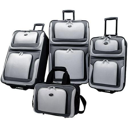U S Traveler New Yorker 4 Piece Luggage Set  Silver Gray