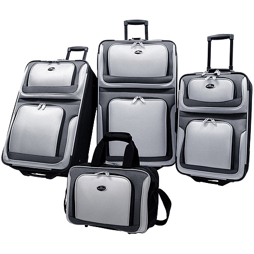 U.S Traveler New Yorker 4-Piece Luggage Set, Silver Gray
