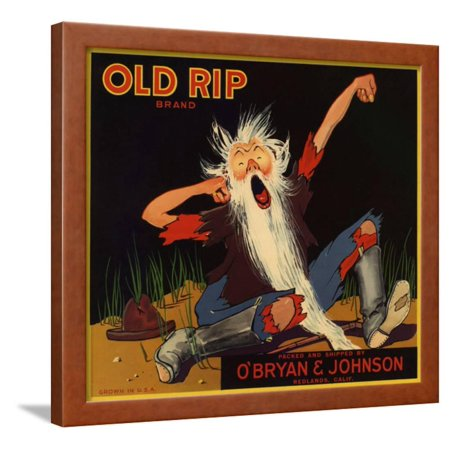 Old Rip Brand - Redlands, California - Citrus Crate Label Framed Print Wall Art By Lantern (D Lillard 2 Rip City For Sale)
