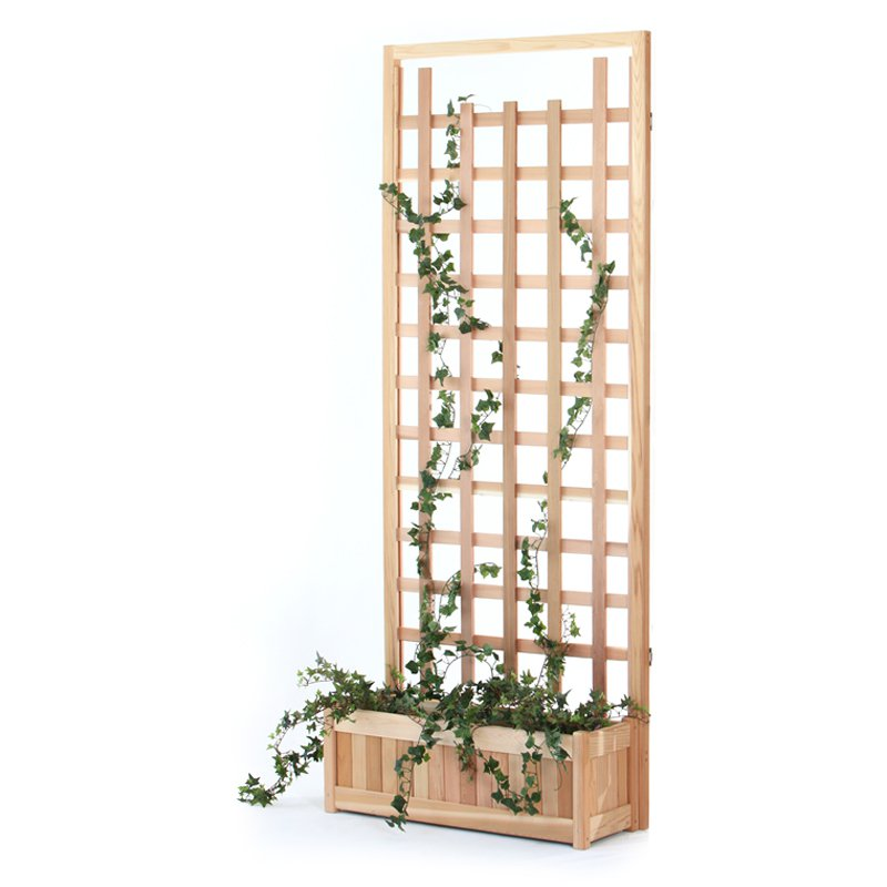 All Things Cedar 2 Piece Planter with Trellis Screen by