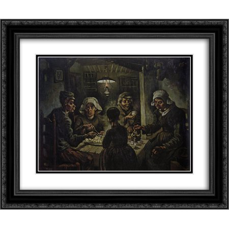 Vincent Van Gogh The Potato Eaters (Vincent van Gogh 2x Matted 24x20 Black Ornate Framed Art Print 'The Potato Eaters)
