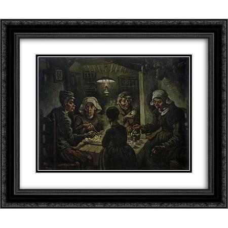 Vincent Van Gogh The Potato Eaters (Vincent van Gogh 2x Matted 24x20 Black Ornate Framed Art Print 'The Potato Eaters)