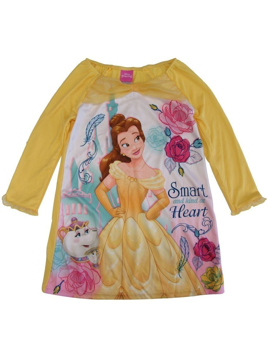 Girls Yellow Beauty Beast Princess Belle Long Sleeve Nightgown