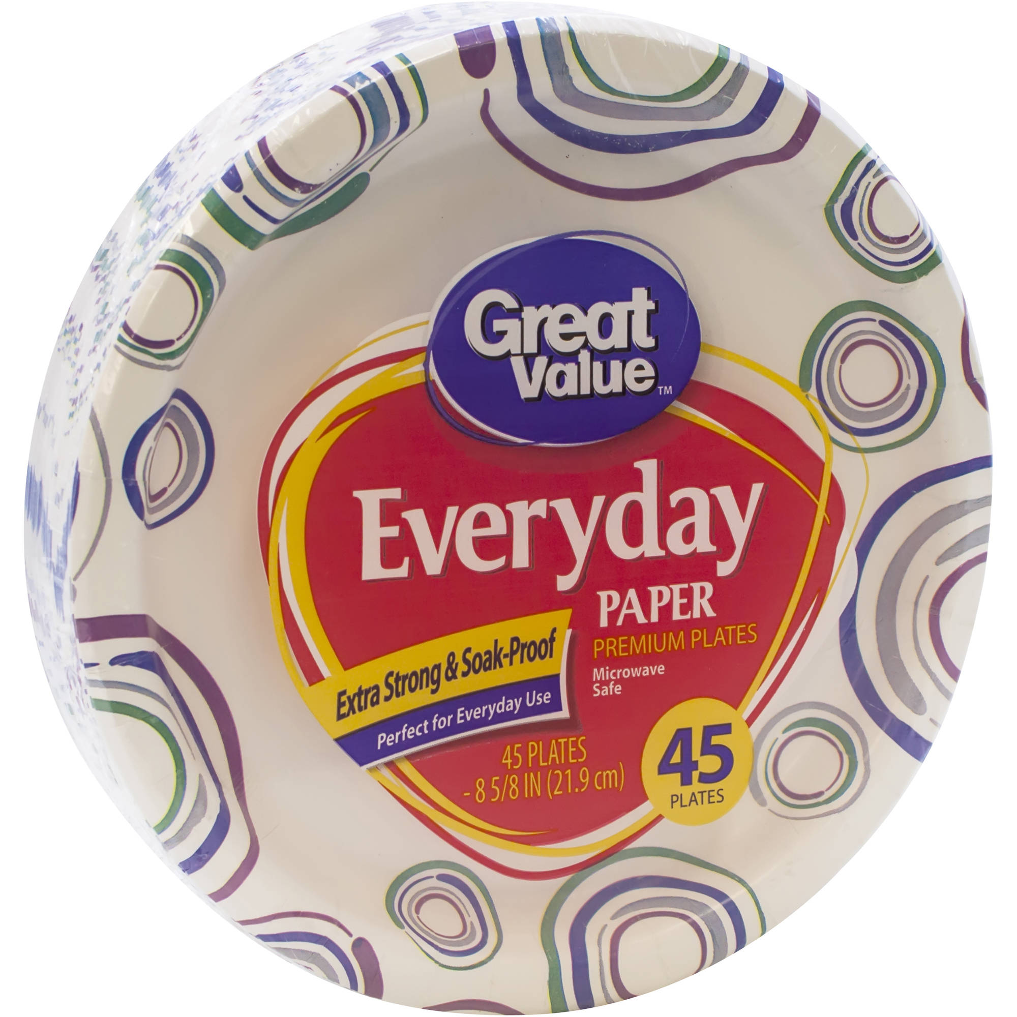 Great Value: Heavy Duty Paper Plates, 45 Ct