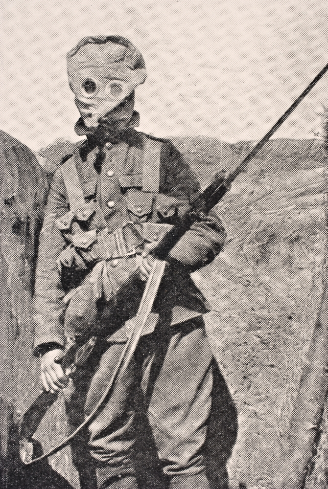 Canadian Soldier Wearing Gas Mask In 1915 From The War Illustrated Album Deluxe Published London 1916 PosterPrint by Design Pics