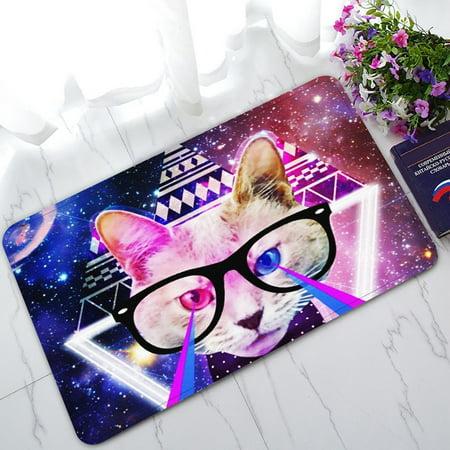 GCKG Galaxy Universe Space Cat Laser Eyes Non-Slip Doormat Indoor/Outdoor/Bathroom Doormat 30 x 18 (Dior Cat Eye)