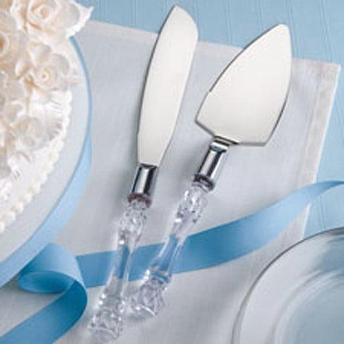 Wilton Wedding Crystal Cake and Knife Server Set 120-042