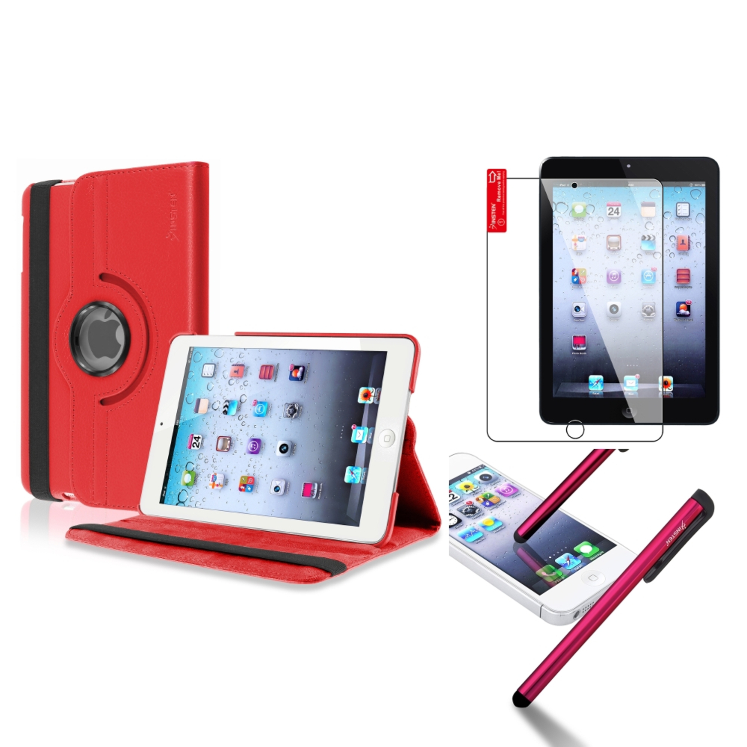 iPad Mini 3/2/1 Case, by Insten For Apple iPad Mini 3rd 3 2nd 1 1st Gen Rotating PU Leather Case Cover Stand Red