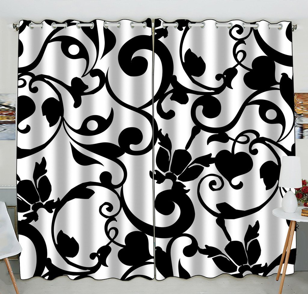 GCKG Black and White Damask Pattern Classic Vintage French Floral Swirls Window Curtain Kitchen Curtain Size 52(W) x 84 inches (Two Piece)