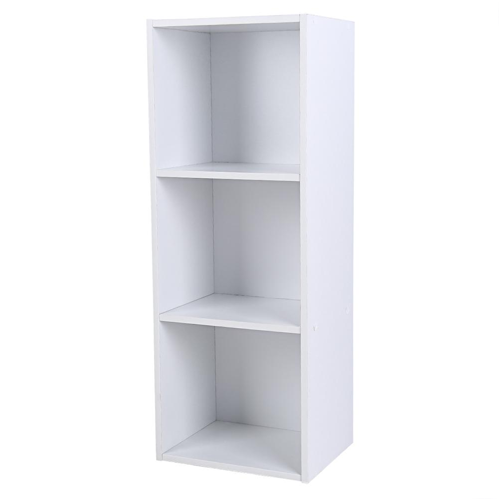 promo code 5f224 ed6ba HERCHR Shelf Bookcase Three-tier Storage Bookshelf Wood Furniture  Adjustable Book Shelving(White)