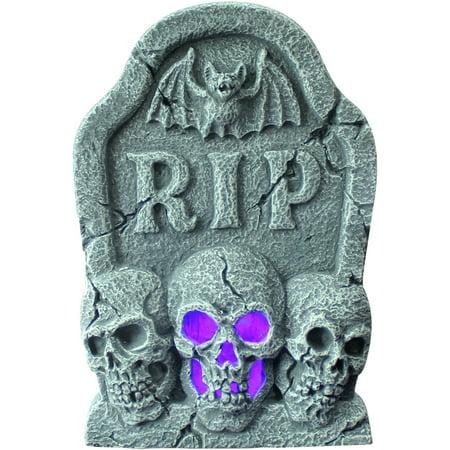 Ligth Up Skull Tombstone Halloween Decoration