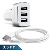 For iPhone Charger by BasAcc Lightning 8-Pin USB Sync & Charge Cable (Apple MFi Certified) + 3-Port 6.6A Car Charger Adapter for iPhone XS X 8 7 6S 6 6S Plus SE 5 iPad Pro Air Mini iPod Touch 6th 5th
