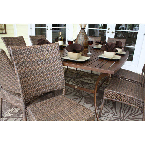 Hospitality Rattan Grenada 9 Piece 60 in. Square Slatted Table Patio Dining Set - Viro Fiber Antique Brown - Seats 8