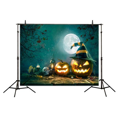 HelloDecor Polyster 7x5ft Halloween Theme Photography backdrop background Evil pumpkin lights skull full moon photo studio prop](Cute Halloween Themed Backgrounds)