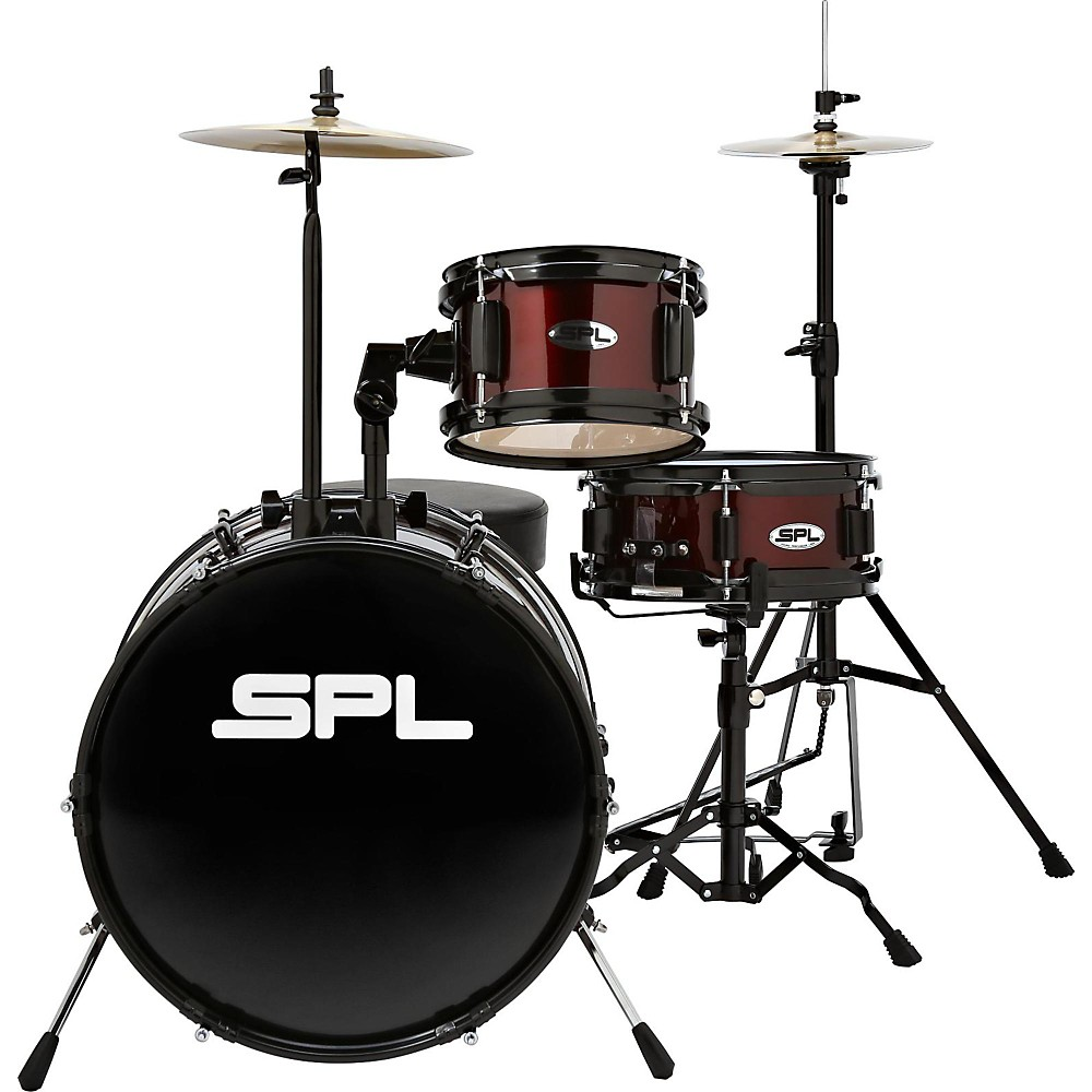 Sound Percussion Labs Lil Kicker - 3 Piece Jr Drum Set with Throne Wine Red