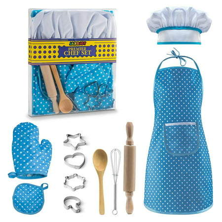 JaxoJoy Complete Kids Cooking and Baking set - 11 Pcs Includes Apron for Little Girls, Chef Hat, Mitt & Utensil for Toddler Dress Up Chef Costume Career Role Play for 3 Year Old Girls and Up - Blue - Blue Superhero Costume