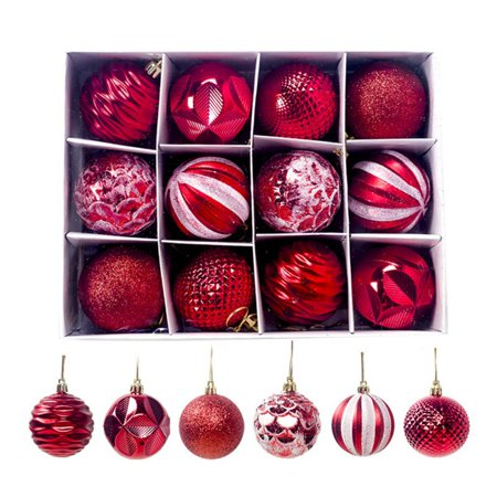 Christmas Tree Hanging Decoration 12PCS Plastic Xmas Ball Festive Decor ()