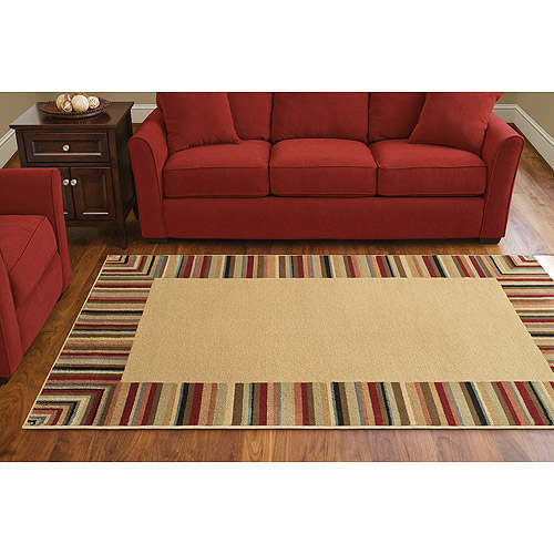 Canopy Stain Resistant Striped Border Rug, Multi