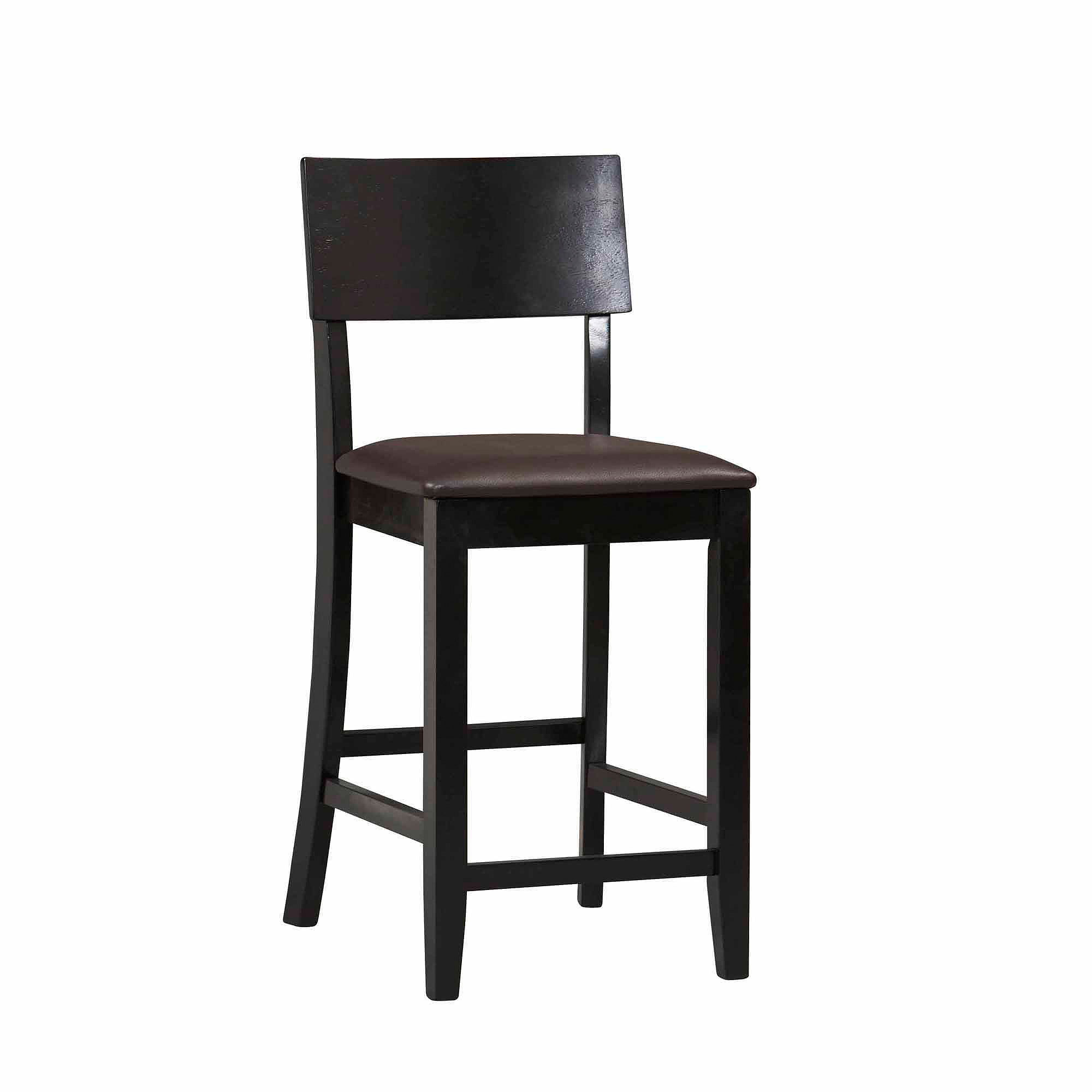 Linon Torino Contemporary Counter Stool Brown 24 Inch Seat Height